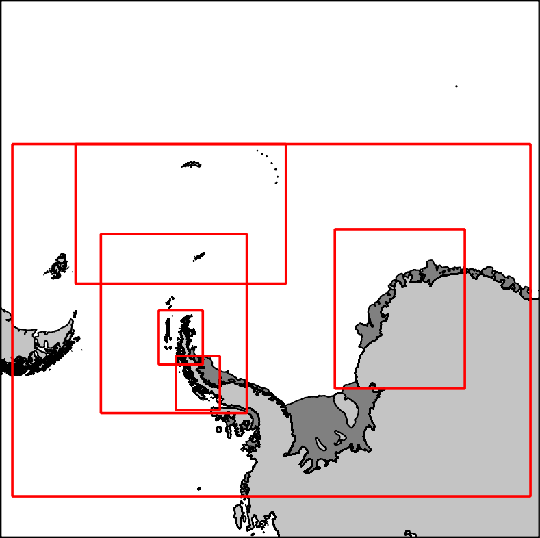 Antarctic ice chart areas