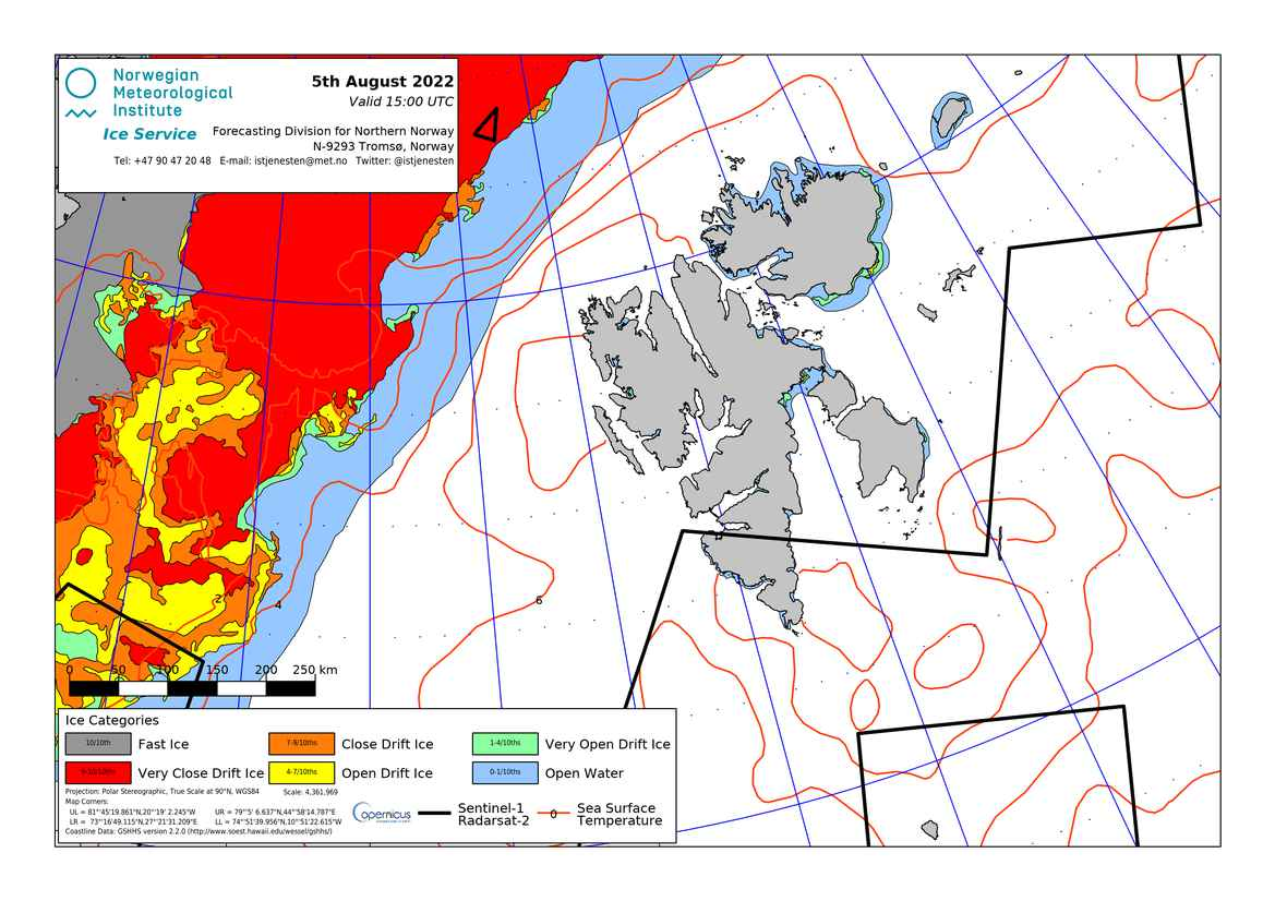 Ice map for Svalbard (Norway)