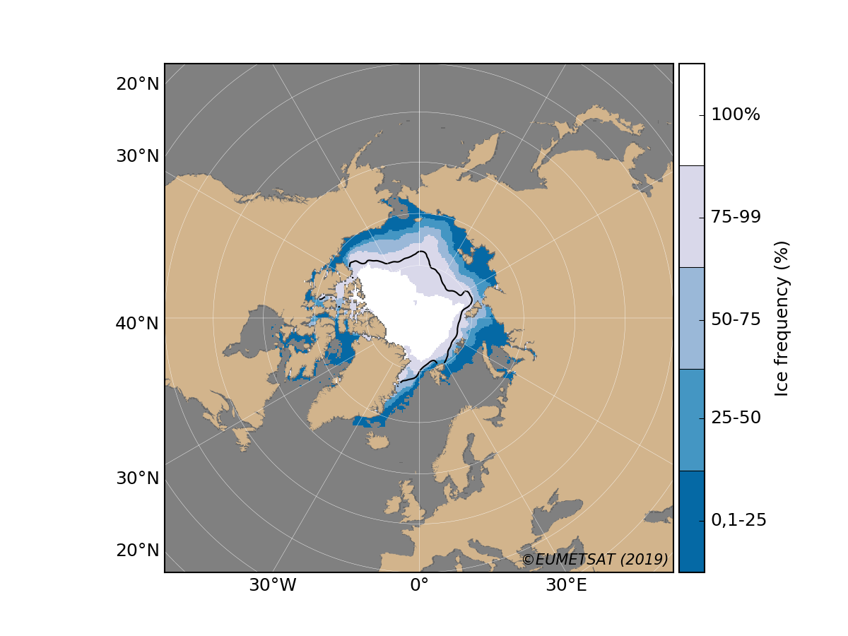 Arctic ice frequency for September