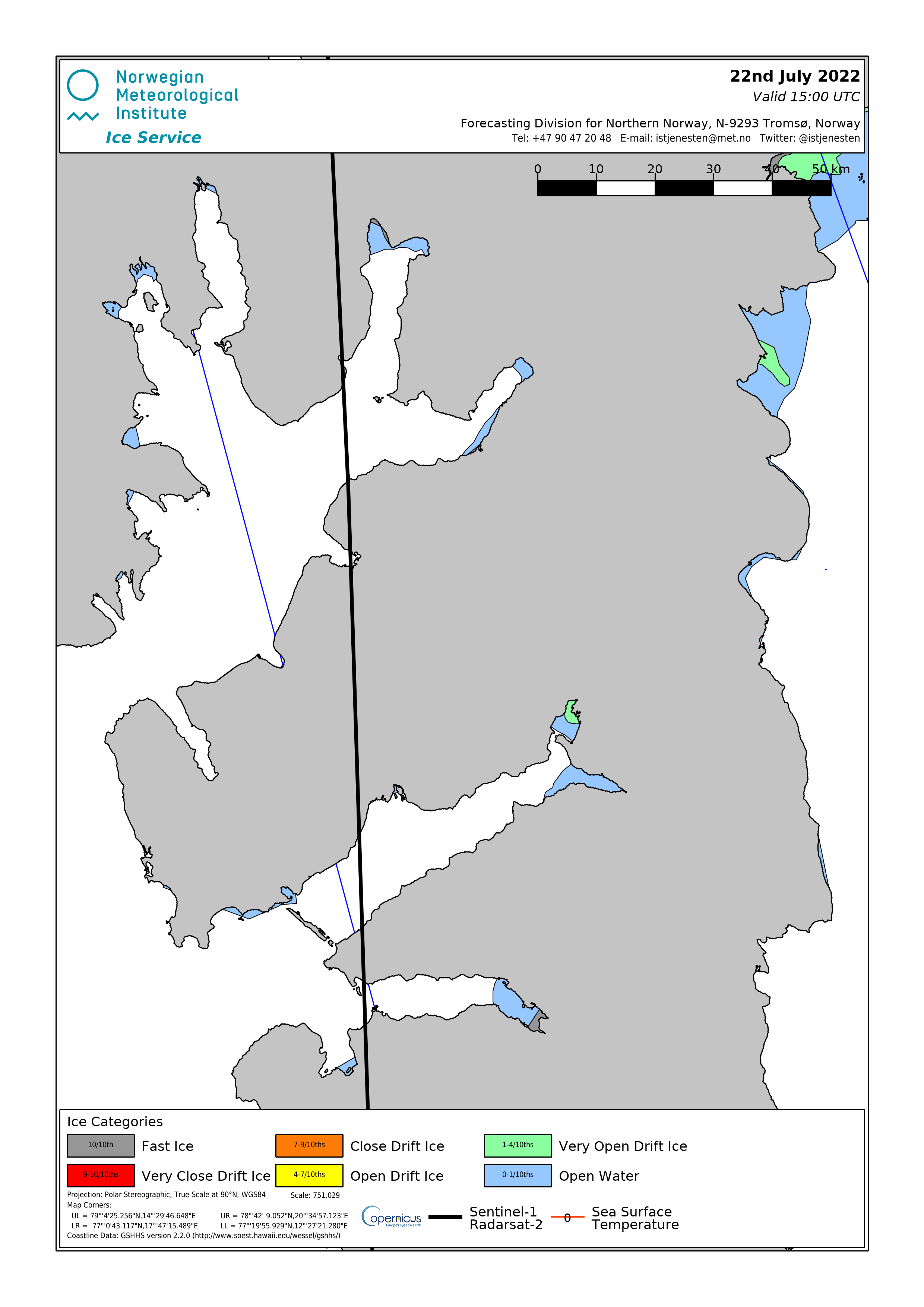 An overview of the sea ice situration at Isfjorden