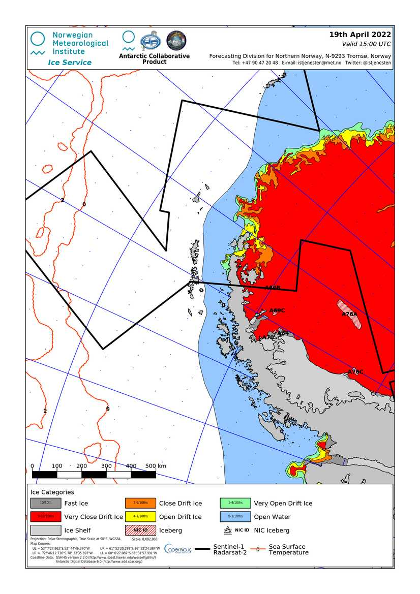 Latest ice map: Antarctic Peninsula