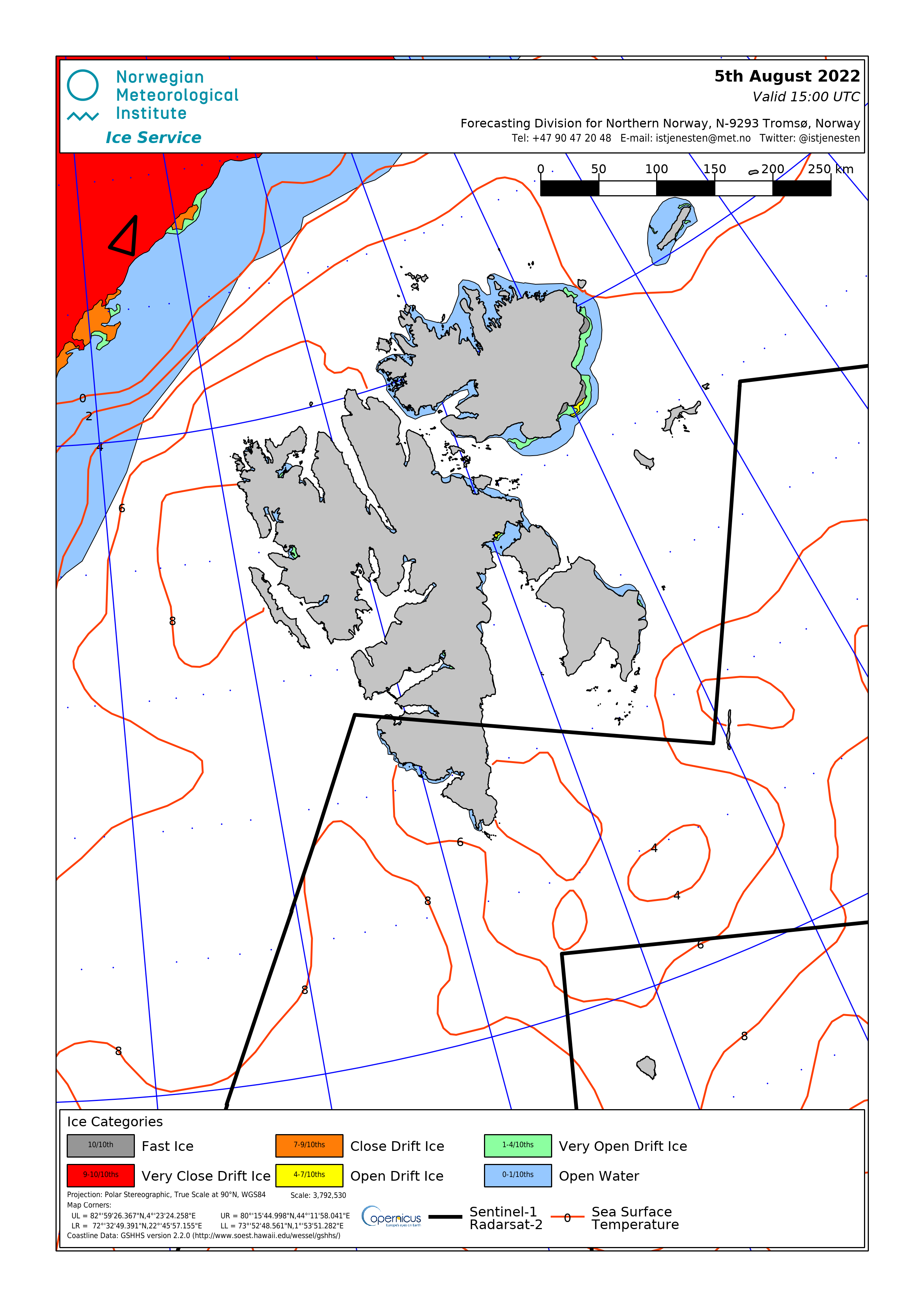 An overview of the sea ice situation at Svalbard