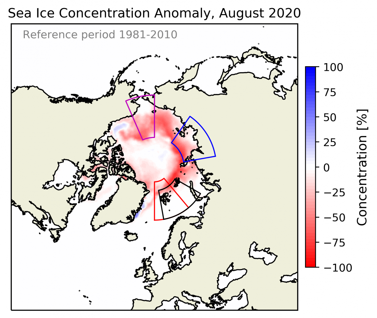 Arctic sea-ice concentration anomaly August 2020