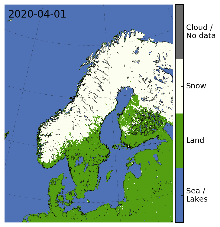 Snow cover map for Norway 2020.04.01
